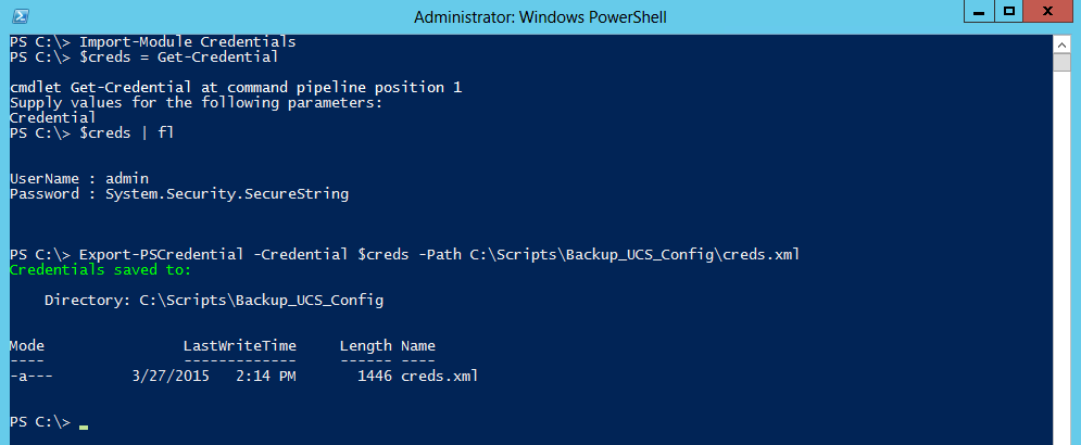 Export PowerShell credentials to .xml file.