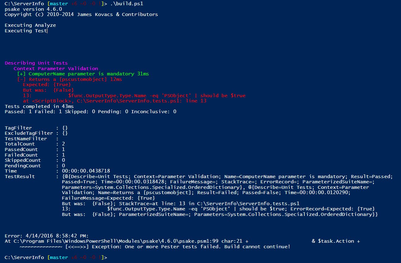 Building a Simple Release Pipeline in PowerShell Using psake, Pester